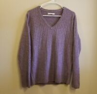 G.H. Bass & Co. Lavender V Neck Preppy Cable Knit Pullover Sweater Womens XL