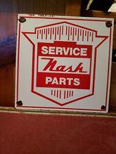 Vintage 1950s Nash Service Parts Gasoline And Oil Advertising Porcelain Sign