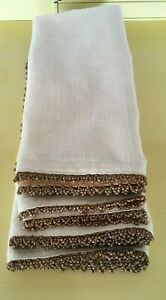 """Lot of 4 beaded dinner napkins from Pier 1. Beige w/copper beads. 21"""" square"""
