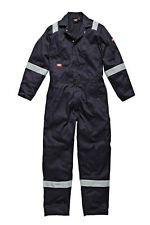 Dickies WD2279 Mens Cotton Coverall Boiler Suit Mechanics Workwear Navy Blue Red