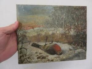 really old PAINTING early oil on canvas winter dead bird robin