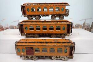 Vintage Prewar Lionel Standard Gauge Orange Passenger Car Set 18 & 19 & 190