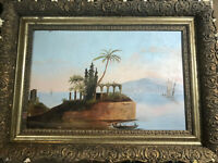 """Antique """"An Expansive River And Landscape Scene"""" Oil On Board Painting - Framed"""