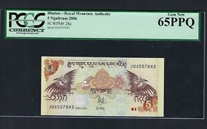 Bhutan 5 Ngultrum 2006 P28a Uncirculated Grade 65