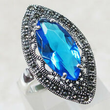 BEAUTIFUL MARCASITE 4 CT BLUE TOPAZ 925 STERLING SILVER RING SIZE 5-10