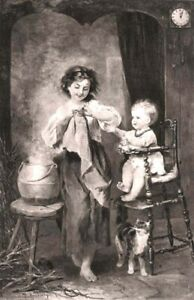 BABY & CAT CRY & MEOW TO BE FED WARM MILK BY BIG SISTER ~ 1884 Art Print Gravure
