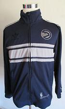 Men's adidas Atlanta Hawks Full Zip Track Jacket Sz L NBA Trefoil Blue/Gray
