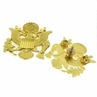 US Army Officer Golden Eagle Cap Badge Insignia Pin U.S. Army Peaked Cap Badge
