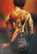 Vintage Art Fantasy Print Boris Vallejo Muscle Man Tattoo Dragon Chains 1981