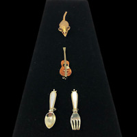Lot of 4 Gold Tone Scatter Pins Brooches Violin Fiddle Mouse Rat Spoon Fork
