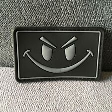 PVC RUBBER EVIL SMILE SMILEY FACE ISAF TACTICAL MORALE HOOK PATCH GREY