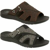MENS SUMMER SANDALS NEW OPEN TOE CASUAL FAUX LEATHER MULE BEACH FLIP FLOPS SHOES