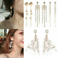 Women Long Tassel Rhinestone Crystal Ear Stud Drop Dangle Earrings Jewelry Gift