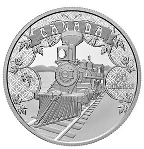 2021 Canada $50 100 Years Confederation Emerging Country Train 5 oz Silver Coin