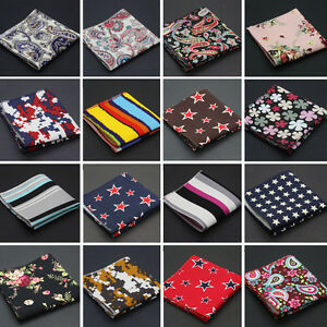 Men Linen Cotton Pocket Square Handkerchief Hanky Stripe Floral Stars Paisley