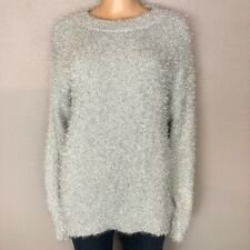 NWOT H&M Silver Metallic Fuzzy Sweater Womens Large Pullover Long Sleeve Chunky