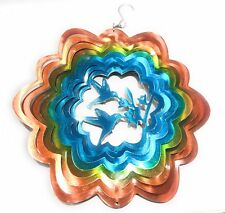 Stainless Steel Wind Spinner Hummingbird Blue Yellow Orange,Eye Catching