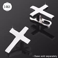 14K WHITE GOLD Cross Dermal Anchor Screw Top Stud Ring Internal PIERCING Jewelry
