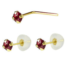 14K Solid Gold 2mm Red Ruby Earrings and L Shape Nose Stud  Nose Ring Jewelry