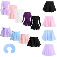 Kids Girl Chiffon Ballet Leotard Tutu Wrap Scarf Skirt Dance Gymnastics Dress