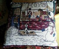 015 17x16 Christmas Holiday Toys Sofa Couch Throw Pillow Snowman Dog Sled