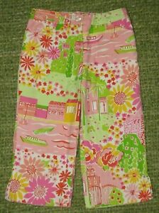 LILLY PULITZER Colorful Floral Boat Poodle Vacation Crop Capri Pants Girls 5