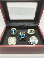 5 Pcs New York Giants Super Bowl Championship Ring with Wooden Display Box