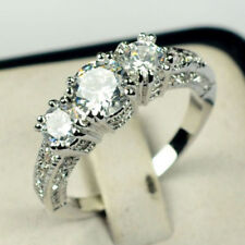 US Size 4-12 White Sapphire Three Stone Engagement Ring 10KT White Gold Jewelry