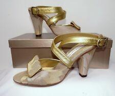 e73c6ab6fea Style  Mules. Olivia Rose Tal 6B Gold Brocade Leather Cross Ankle Strap  Pump Heels Metallic