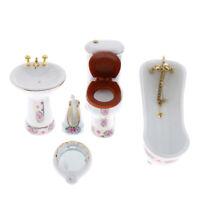 5pcs White Ceramic Bathroom Set Furniture Dollhouse Miniature 1/12 Scale
