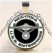 Star Trek USS Enterprise Cabochon Glass Tibet Silver Chain Pendant  Necklace