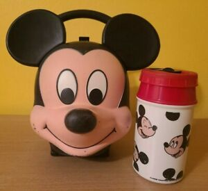 Vintage Disney Alladin Mickey Mouse Head Lunch Box, Thermos