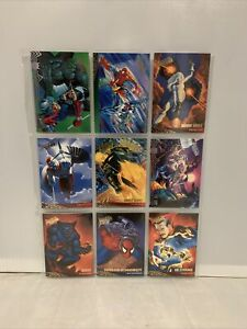 Marvel X-Men Spider-Man Fleer Trading Cards Lot Of 9 Cards In A Sleeve 1995