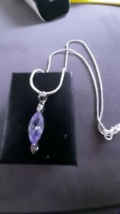 AMETHYST GLASS PENDANT...FREE S.SILVER CHAIN!
