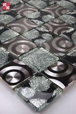 MOSAICO DE VIDRIO ACERO INOX CURLEY Cristal Negro Plata 1m ²