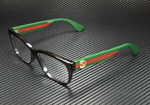 GUCCI GG0278O 012 Rectangular Square Havana Demo Lens 55 mm Women's Eyeglasses