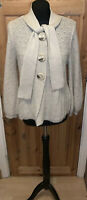River Island Cardigan Tie Neck Size 14 ?12 Luxe Beige Gold Mohair Mix Womens