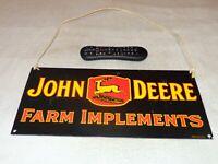 "VINTAGE JOHN DEERE FARM TRACTOR IMPLEMENT 17"" PORCELAIN METAL GASOLINE OIL SIGN!"