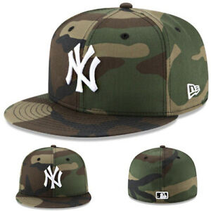 New Era new York Yankees Fitted Hat Official MLB Woodland Camouflage size 8