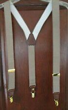 Men's Adjustable Elastic Clip Suspenders/Braces Taupe/White Dots Leather Trim