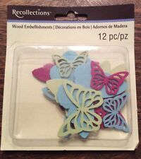 Recollections 312066 Butterfly Wood Embellishments 12 Pieces New!!!