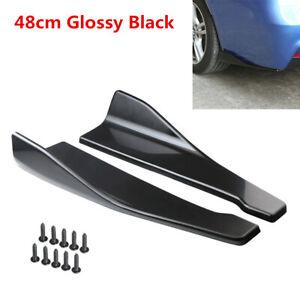 Car Side Skirt Extension Splitters Winglet Diffuser Rear Lip Glossy Black 48cm