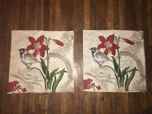 "Pottery Barn Amaryllis & Bird Linen & Cotton Cushion Cover 23""  Botanical Set"