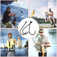 50pcs Sharp Fishing Lure Fish Hook Barbed Fishing Tackle Fishhook 10 Grid Box x1