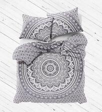 Gray Ombre Mandala Bedding Set Large Duvet Cover with Pillows - Amrita