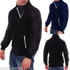 Men's Pullover Sweater Leather Look Sweatshirt Hoodie Long Shirt Sleeve New