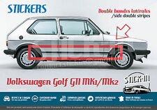 VW Volkswagen Golf GTI mk1 2 - Stickers Autocollants Bandes Stripes Side Latéral