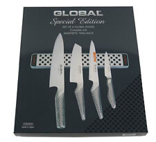 GLOBAL Kochmesser  4er Set + Magnetschiene in Geschenkbox G-251138/M30