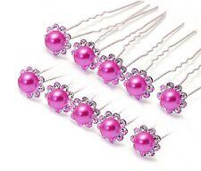 1 épingle chignons perle rose foncé et strass , bijou de cheveux mariage
