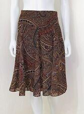Chaps Brown Purple Paisley Chiffon Flounce Hem Flare A-line Skirt Size 12 EUC
